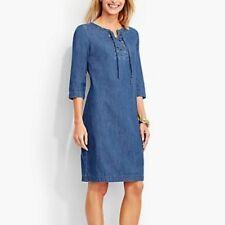 Talbots Chambray Popover Denim Dress Lace Up Neck Size 16 EUC