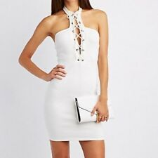 NWT Charlotte Russe Lace-Up Choker Bodycon Dress White Medium M