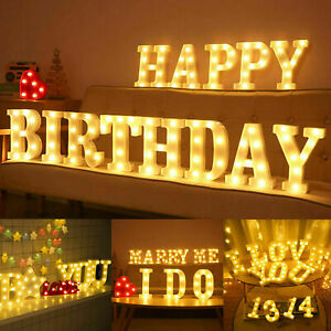 Large LED Alphabet Letters Lights Light Up Plastic Numbers Party Birthday Sign