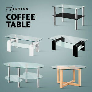 Artiss Coffee Table Glass Side Tables Bedside Tables Storage Modern Furniture