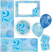 Blue Boy Happy 2nd Birthday Bubbles Banners Decorations Balloons Party Supplies