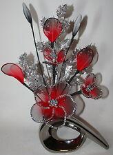 Artificial Flowers Red Glitter Nylon Flower Arrangement in Silver Vase Christmas