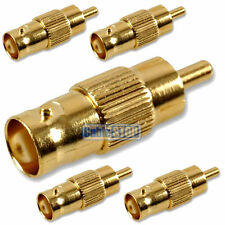 5 x GOLD BNC TO RCA PHONO MALE PLUG CCTV VIDEO CAMERA CABLE CONVERTER ADAPTER
