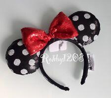 Authentic Disneyland Disney Red Bow Black & White Polka Dot Minnie Ears Headband