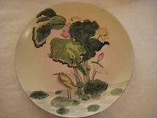 "NICE OLD VINTAGE HANDPAINTED CHINESE WATER LILY PLATE, 10 1/4"" DIAMETER, MARKED"
