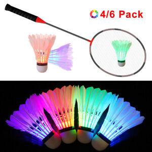 LED Badminton Shuttlecocks Goose Feather Glow Birdies Light Up Shuttle-Cocks