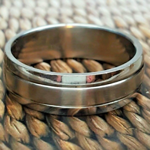 Men's  Silver Stainless Steel Band Ring Size 11 12 Fashion Ring