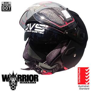 Open face motorcycle helmet, Matte Black, 5 tick Aust, Standard, dual visor, DVS