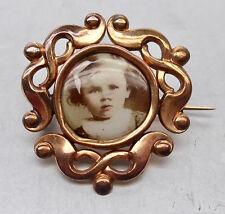 ❂ ►  Jugendstil Foto- Brosche, Gold- Double, original altes Foto