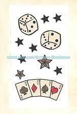 US Seller- playing cards dice stars temporary tattoo Skin art waterproof