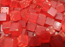 Genuine BAKELITE made  USA 1950's   red 12mm cubes 300 grams
