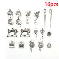 16pcs Tibetan Silver Tailor Tool Mix Charm Pendants Beads Jewelry Making DI LC