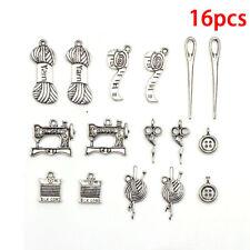 16pcs Tibetan Silver Tailor Tool Mix Charm Pendants Beads Jewelry Making DIY W