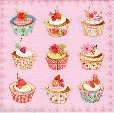 4 x Single PAPER NAPKINS Cupcakes Pink Background DECOUPAE CRAFTS PARTY