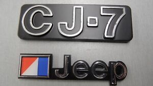NOS JEEP CJ7 BADGE & AMC FLAG EMBLEM KIT 1976-1986 (NEW OLD STOCK)