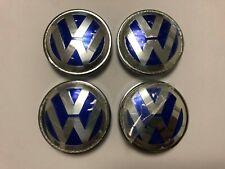 4Pcs VW Blue Wheel Center Cap Hubcap Emblem For Jetta Golf Beetle 1J0601171 56MM