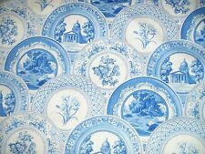 Tea Time Plates in Blue Quilting Fabric Daisy Kingdom 50cm piece