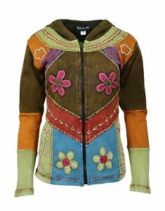 WOMEN MULTICOLORED COTTON JACKET WITH HOOD AND SIDE POCKET !