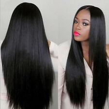 Hot Long Straight Black Synthetic Wig Heat Resistant Straight Hair Women's Wigs