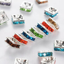 100x Silver Metal Mixed Color Square Nickel Free Rhinestone Spacer Beads 6x6x3mm