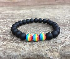 Love, Peace & Equality Bracelet -Rainbow Colors -Equal Rights, Love Wins, LGBTQ