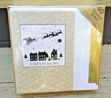 GOLD FOIL HAPPY HOLIDAYS NIB 40 CARDS + SELF SEALING FOIL LINED ENVELOPES + BOX