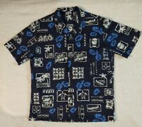 ROYAL CREATIONS Men's Hawaiian Leaf Pattern Blue Button up Shirt size Large
