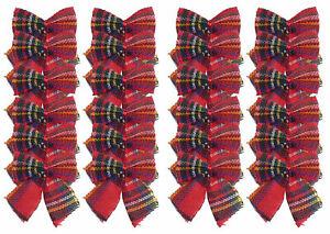 Mini Tartan Bows With Ties - Christmas Tree Decorations / Craft (Set of 24)
