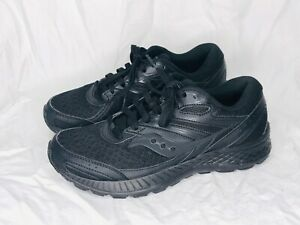Saucony Cohesion 13 Black Running Shoes Women's Size 9W Lace Up Athletic