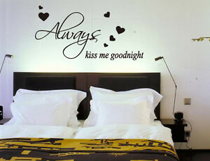 'Always Kiss Me Goodnight' Bedroom Wall ART Quotes Vinyl Sticker, DIY Wall Decal