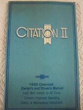 ORIGINAL SURVIVOR 1985 CHEVROLET CITATION II  OWNERS MANUAL COMPLETE