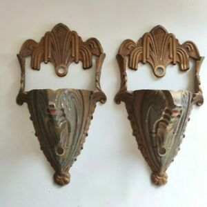 Pair Antique Mid West MidWest Slip Shade Art Deco Wall Sconces Only