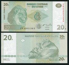 Congo DR 20 francs 2003.06.30. Lion Male & Family HdM Print P94 UNC
