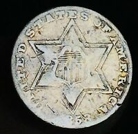 1858 Three Cent Silver Piece Trime 3c Type 2 High Grade Details US Coin CC5026