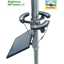 Solar Flagpole Light Polepal Tri-Light Commercial USA Flag Extreme Power Durable