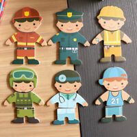 Wooden Montessori Boy Jigsaw Puzzle Change Clothes Kids Educational Toy