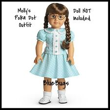 NEW IN BOX Retired American Girl Molly's Blue Polka-Dot Outfit Dress Shoes Molly