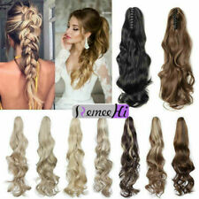 "15""-24"" Wavy Human Hair Ponytail 100% Human Hair Claw Clip Ponytail Extensions"