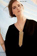 Tassle Necklace Vintage Gold Diamond Shaped Pendant Geometry Long Gothic NCL-08