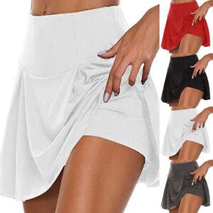 Womens High Waist Gym Yoga Shorts Ladies Tennis Badminton Running Skirt S-5XL
