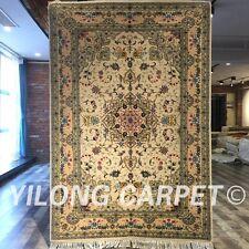 Yilong 4'x6' Kilim Handmade Wool Silk Rug Medallion Blanket Woollen Carpets 2051