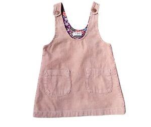 NEXT Girls Corduroy Pinafore Dress Beige  1-1/2 - 2yrs Cotton Print Lining