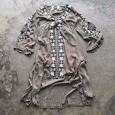 L New Bohemian Festival Olive Embroidered Midi Maxi Kaftan Hippie Dress LARGE