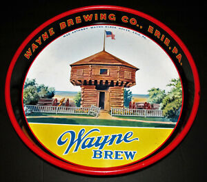 """Wayne Brewing Co Beer & Ale Erie PA 13"""" Tray Excellent Condition w Block House"""
