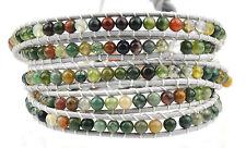 Semi Precious Stone 5 Five Wraps Leather Bracelets Multi Colour Size Adjustable