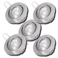 5 x Einbauleuchten / 230V / Halogenlampen / Hochvolt / Dimmbar / Alu / Druckguss