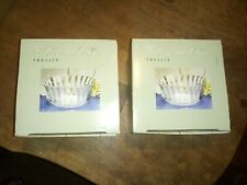 "Crystal Clear Trellis Pair of two (2) 4.5"" Glass Votive Candle Holders Boxed"