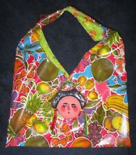 Vintage JUDITH ROBERT La Collecion Hecho In Mexico OILCLOTH Tote w/ Pottery FACE