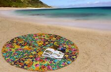 Indian Multi Color Floral Patchwork Round Cotton Beach Throw Yoga Mat Tapestries