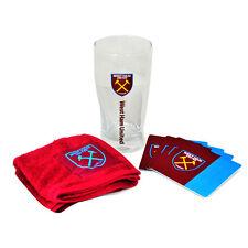 WEST HAM UNITED FC WORDMARK MINI BAR SET PINT GLASS TOWEL 4 BEER MAT XMAS GIFT